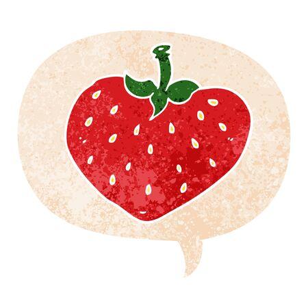 cartoon strawberry with speech bubble in grunge distressed retro textured style Illusztráció