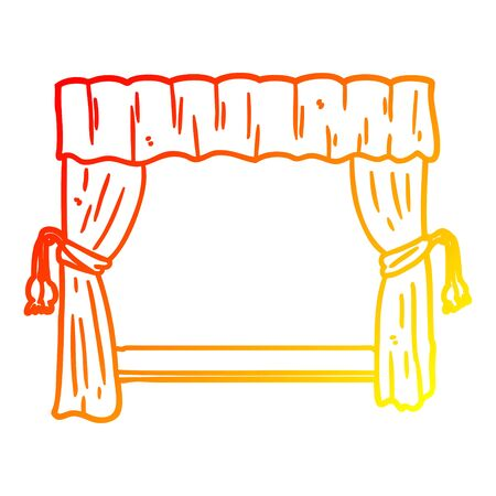 warm gradient line drawing of a curtains opening onto stage  イラスト・ベクター素材