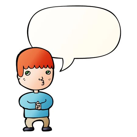 cartoon man thinking with speech bubble in smooth gradient style