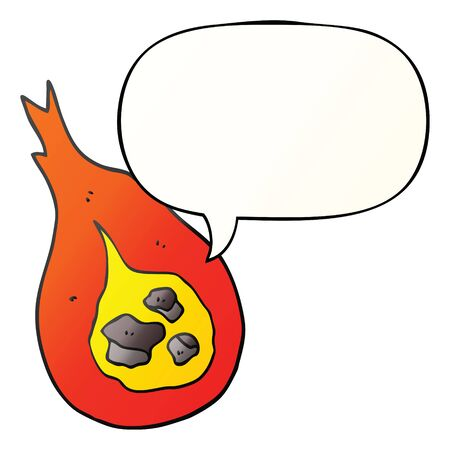 cartoon fireball with speech bubble in smooth gradient style 일러스트