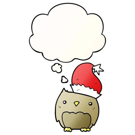 cute christmas owl with thought bubble in smooth gradient style