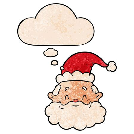 cartoon santa claus with thought bubble in grunge texture style