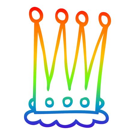 rainbow gradient line drawing of a cartoon crown Ilustracja