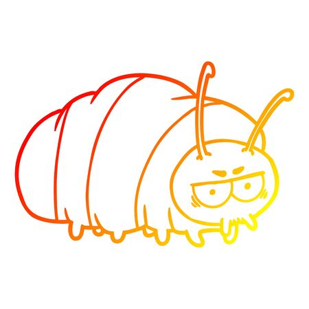 warm gradient line drawing of a cartoon bug