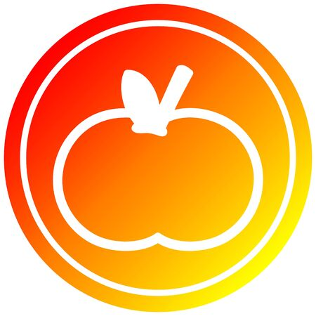 organic apple circular icon with warm gradient finish Иллюстрация