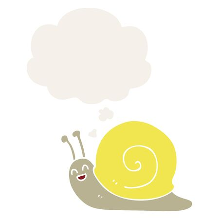 cartoon snail with thought bubble in retro style
