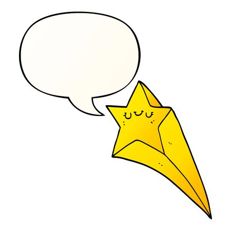 cartoon shooting star with speech bubble in smooth gradient style