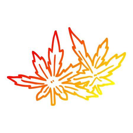 warm gradient line drawing of a cartoon marijuana leaves  イラスト・ベクター素材