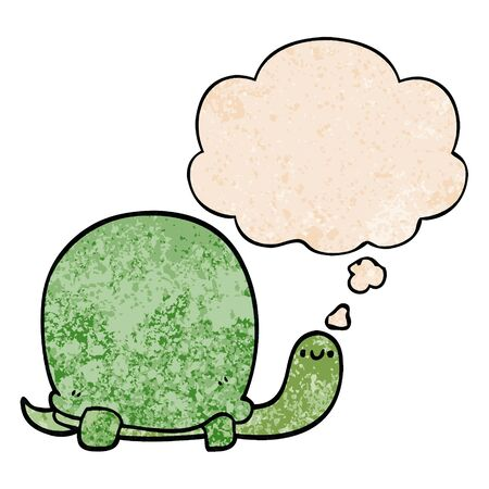 cute cartoon tortoise with thought bubble in grunge texture style