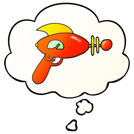 cartoon ray gun with thought bubble in smooth gradient style