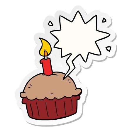 cartoon birthday cupcake with speech bubble sticker