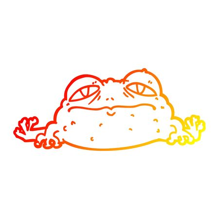 warm gradient line drawing of a cartoon ugly frog Banque d'images - 128292257