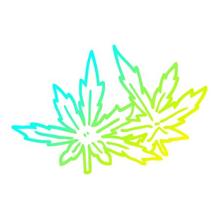 cold gradient line drawing of a cartoon marijuana leaves