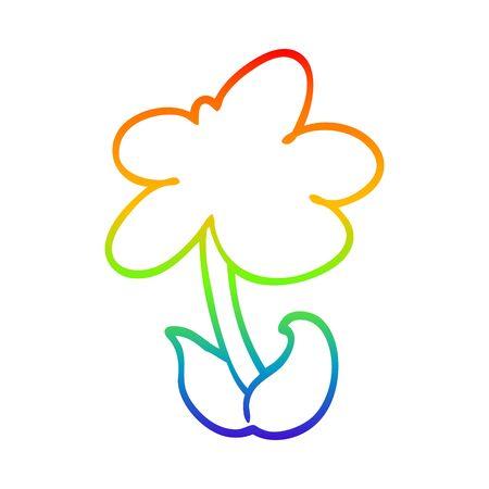 rainbow gradient line drawing of a cute cartoon flower Illustration