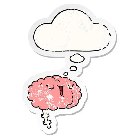 happy cartoon brain with thought bubble as a distressed worn sticker