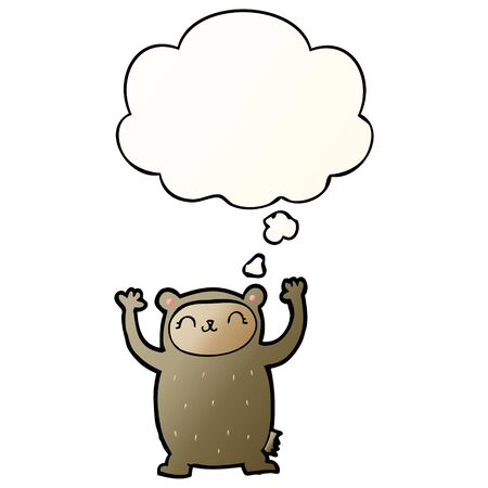 cute cartoon bear with thought bubble in smooth gradient style