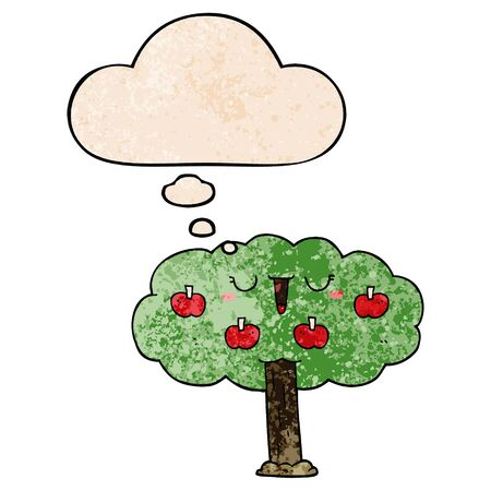 cartoon apple tree with thought bubble in grunge texture style
