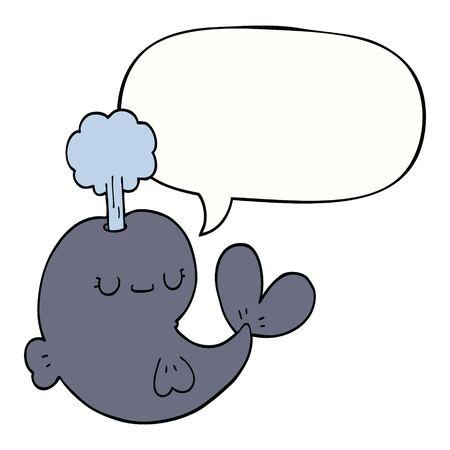 cute cartoon whale with speech bubble