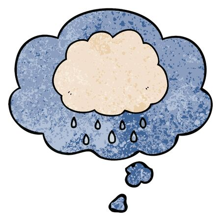 cartoon rain cloud with thought bubble in grunge texture style