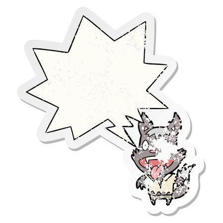 cartoon halloween werewolf with speech bubble distressed distressed old sticker