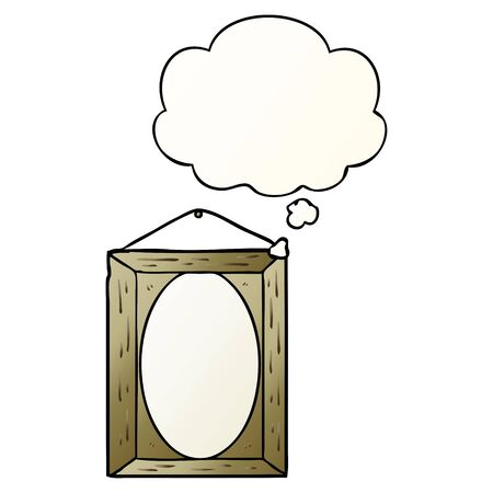 picture frame with thought bubble in smooth gradient style