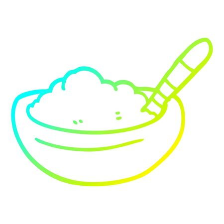 cold gradient line drawing of a cartoon bowl of mashed potato