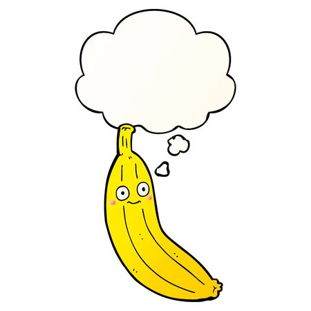 cartoon banana with thought bubble in smooth gradient style