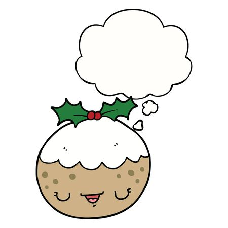 cute cartoon christmas pudding with thought bubble