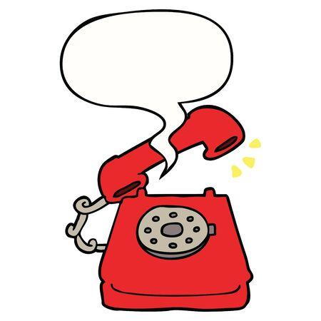 cartoon ringing telephone with speech bubble 写真素材 - 128292986