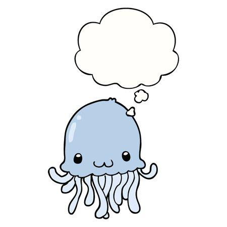 cartoon jellyfish with thought bubble Archivio Fotografico - 128292932