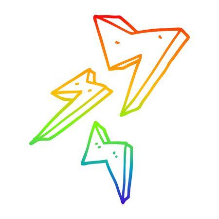 rainbow gradient line drawing of a cartoon lightning bolt