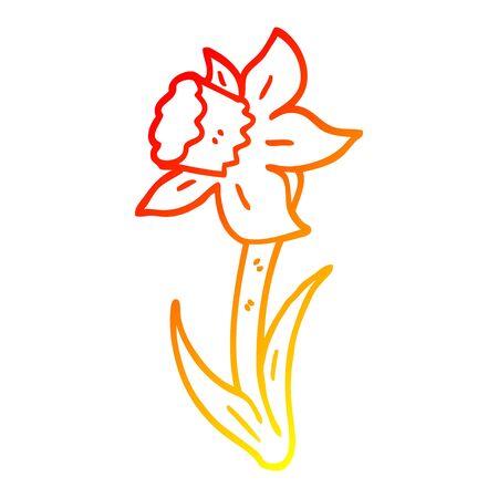 warm gradient line drawing of a cartoon daffodil Illustration