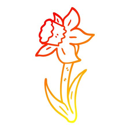 warm gradient line drawing of a cartoon daffodil Ilustracja