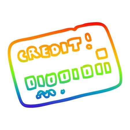 rainbow gradient line drawing of a cartoon credit card Illustration