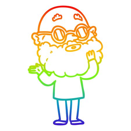 rainbow gradient line drawing of a cartoon curious man with beard and glasses