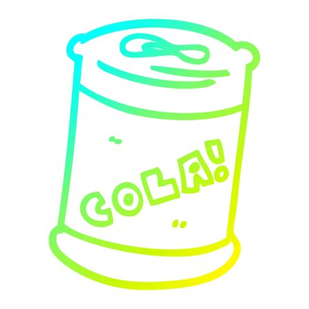 cold gradient line drawing of a cartoon fizzy drinks can Illusztráció