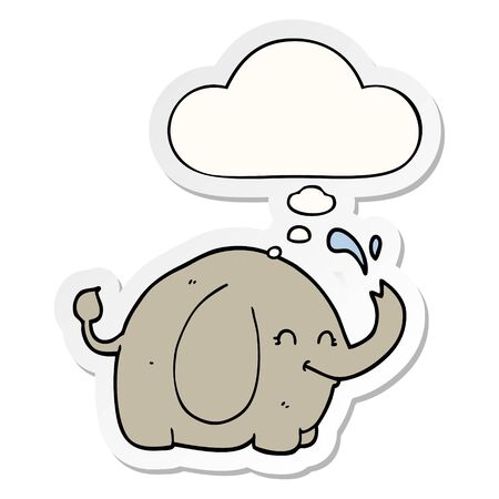cartoon elephant with thought bubble as a printed sticker Illusztráció