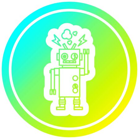 malfunctioning robot circular icon with cool gradient finish