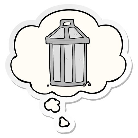 cartoon garbage can with thought bubble as a printed sticker