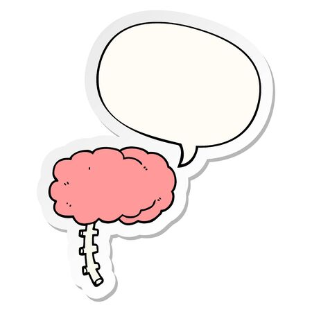 cartoon brain with speech bubble sticker 向量圖像
