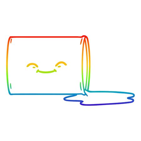 rainbow gradient line drawing of a cartoon happy oil drum