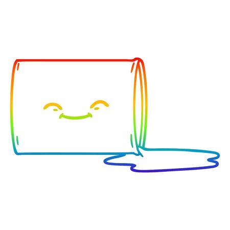 rainbow gradient line drawing of a cartoon happy oil drum