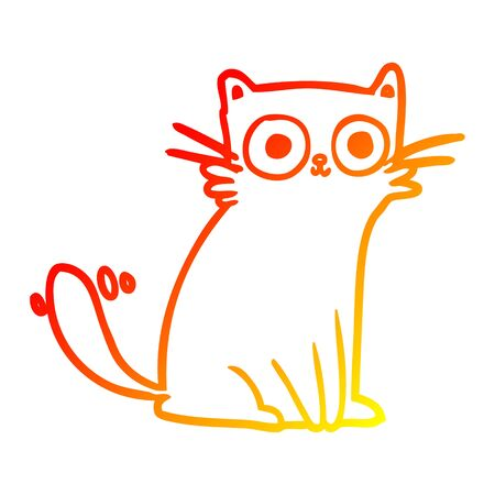 warm gradient line drawing of a staring cat Illustration