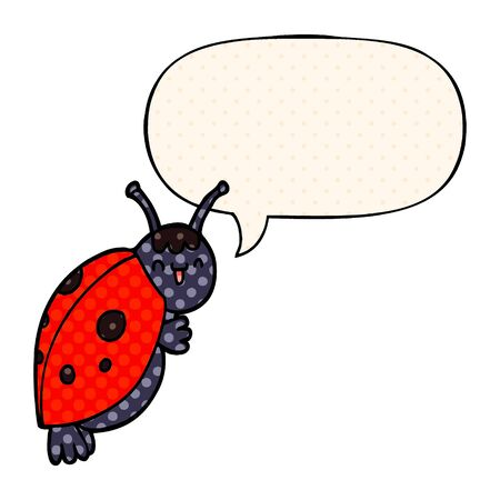 cute cartoon ladybug with speech bubble in comic book style