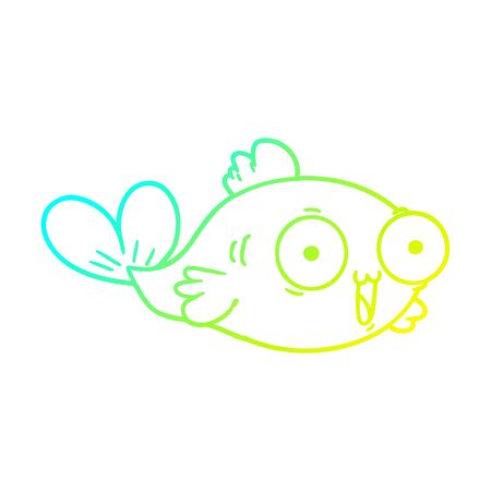 cold gradient line drawing of a  happy goldfish cartoon 向量圖像