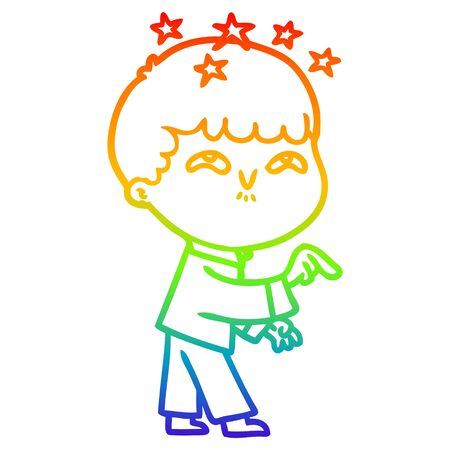rainbow gradient line drawing of a cartoon amazed boy Reklamní fotografie - 128293456