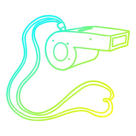 cold gradient line drawing of a cartoon whistle