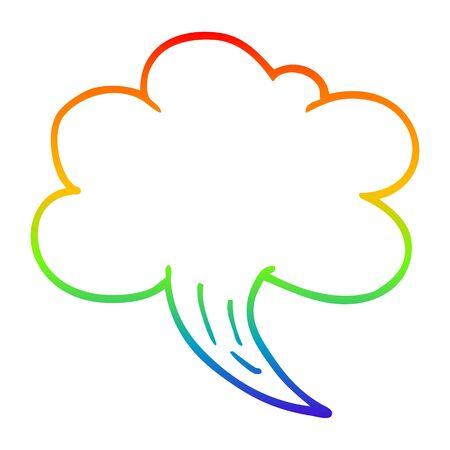 rainbow gradient line drawing of a cartoon whooshing cloud