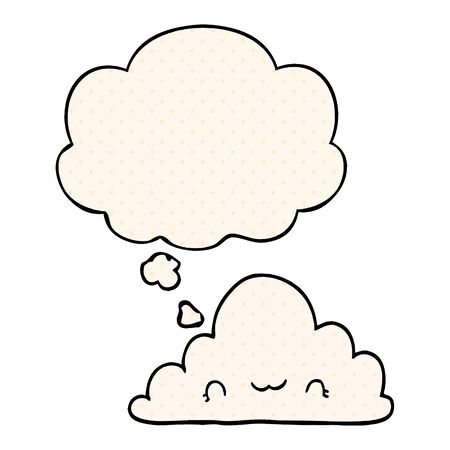 cute cartoon cloud with thought bubble in comic book style Stok Fotoğraf - 128293838