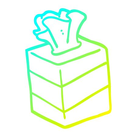 cold gradient line drawing of a cartoon tissue box Çizim